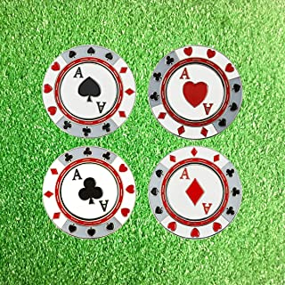 PINMEI Metal Magnetic Golf Poker Chip Golf Ball Markers Golf Gift for Men Kids Set of 4
