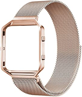 LNOOIU Compatible with Fitbit Blaze Bands, Small and Large Stainless Steel Replacement Adjustable Band with Metal Frame for Fit bit Blaze Women Men, Silver, Black, Colorful, Rose Pink, Rose Gold