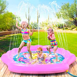 "PRINCESSEA Splash Pad for Girls, XL 70"" Outdoor Mermaid Children's Water Pad,.."