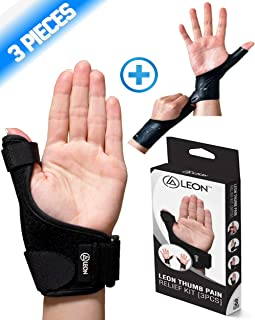 LEON Thumb Brace Pain Relief Kit [3 PCS] | 1 Reversible Thumb Splint + 2 Gel Supports | Waterproof Silicone Wrist Spica CMC - Left & Right Hand | Arthritis Tendonitis Carpal Tunnel De Quervain's