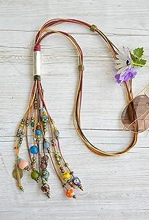 Collar largo de cuero y en capas para mujer, collar bohemio multi cuero en tiras con abalorios y cuentas africanas de cristal