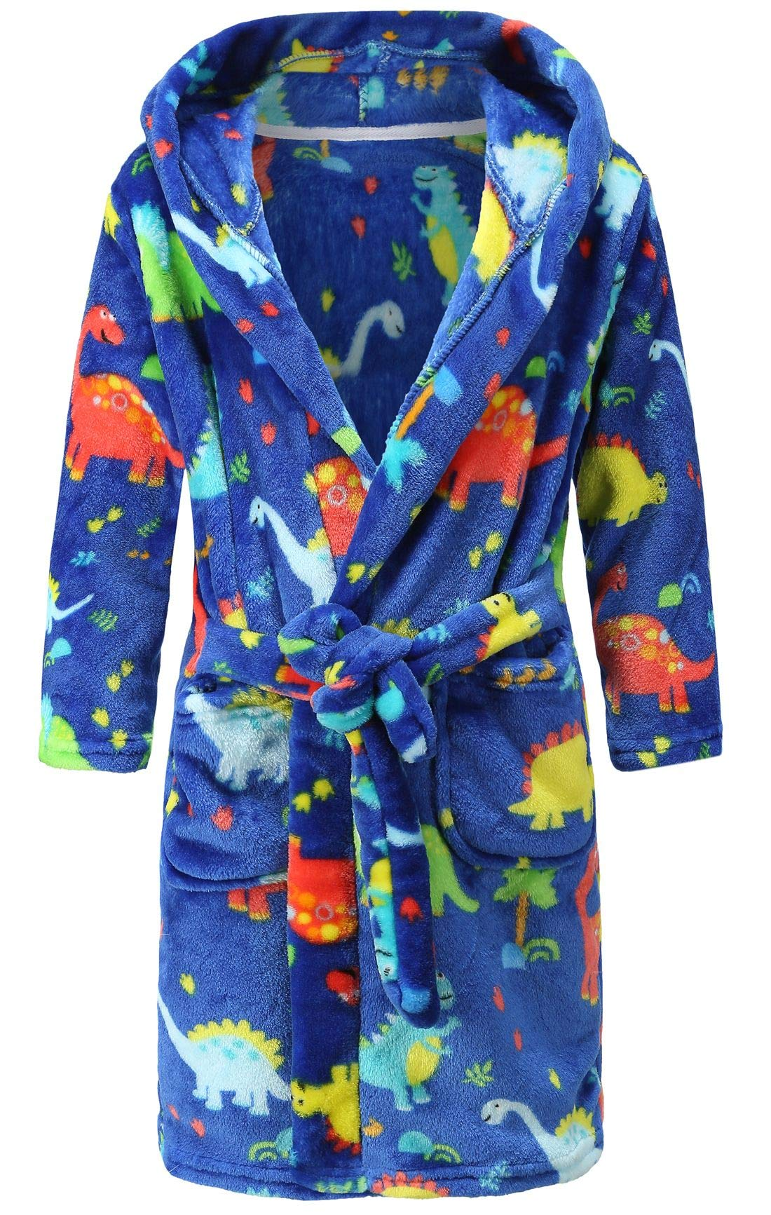 Image of Fun Blue Dinosaur Hooded Bath Robe for Boys and Toddlers