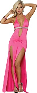 Mapalé by Espiral Women`s Plunging Halter Double Slit Bling Gown
