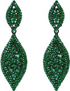 Flyonce Women's Rhinestone Crystal Wedding Bridal 2 Leaf Drop Dangle Chandelier Earrings