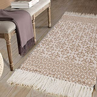 Cotton Printed Area Rug, Seavish Decorative Nordic Tassels Tan Moroccan Geometric Kilim Rug Runner Hand Woven Rag Rug Entryway Thin Throw Rug 2' x 4'4