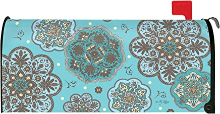 Toland Home Garden Blue Marrakesh Classic Flower Pattern Magnetic Mailbox Cover