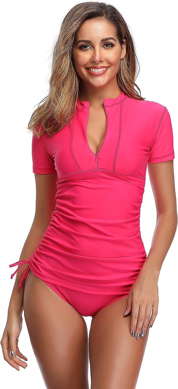 SAILBEE Women's UV Sun Protection Short Sleeve Rash Guard Wetsuit Swimsuit Top