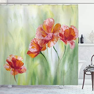 Ambesonne Floral Shower Curtain by, Illustration of Poppy Flowers Oil Painting on Canvas Romantic Design Print, Fabric Bathroom Decor Set with Hooks, 70 Inches, Light Yellow Orange