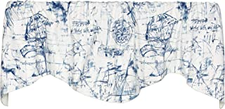 Schooner 53 Inches Wide x 17 Inches Long Cotton and Polyester Lined Shaped Valance Curtain, Blue