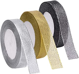 Livder 3 Rolls 75 Yard Metallic Glitter Ribbon for Gift Wrapping Birthday Holiday Graduation Party Decoration (Golden, Silvery, Silver-Black)