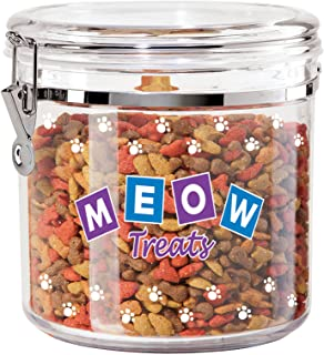 Oggi 8317 Jumbo Acrylic Airtight Pet Treat Canister with Food Storage Container, 130 Oz, Meow Decal