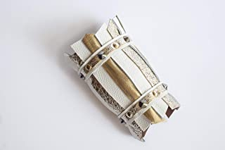 Bracciale modello CUFF, polsino alto in pelle, nappa oro e bianca, gioielli design, contemporary jewels, luxury accessorie...