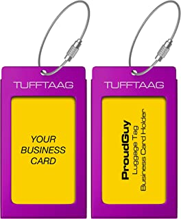 ProudGuy Luggage Tags Business Card Holder TUFFTAAG Travel ID Bag Tag in Many Color Options, Deep Purple, 2 Tags