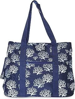 Chevron Tote Bag X-Large (Navy Blue Sea Coral)