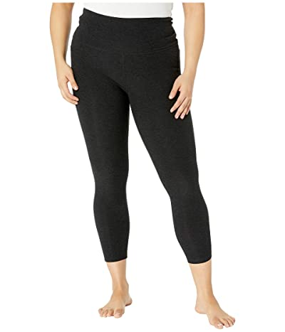Beyond Yoga Plus Size Out Of Pocket High Waisted Spacedye Midi Leggings (Darkest Night) Women