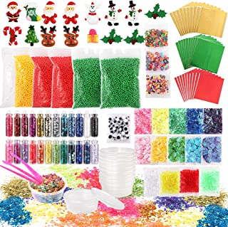 Funarty 106 Pcs Christmas Slime Add Ins Christmas Party Favors or Prizes for Kids, Include Foam Balls, Glitter Sequins Accessories, Slime Containers for Christmas Slime Making Supplies Kit