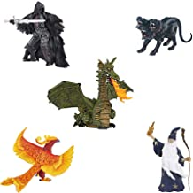 Papo Fantasy Figurine Bundle - Faceless Horseman, Cerberus, Phoenix, Green Winged Dragon with Flame, Merlin The Magician