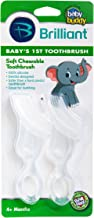 Brilliant Baby's 1st Toothbrush Teether - Premium Silicone First Toothbrush for Babies and Toddlers - Kids Love Them, Clea...