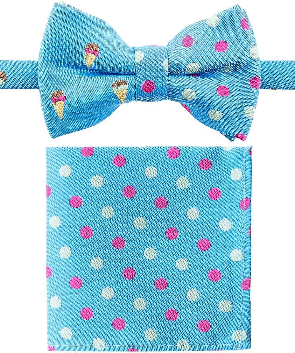 Canacana Sweet Ice Cream Pre-tied Boy's Bow Tie with Stripes Pocket Square Set