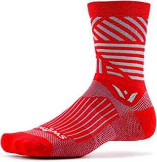 Swiftwick- VISION FIVE EDGE Running & Cycling Crew Socks,  Cushioned