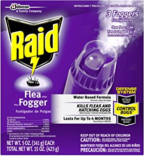 Raid Flea Killer Plus Fogger 3 CT, 5 OZ (Pack - 6)