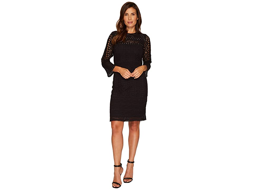 NIC+ZOE Lacey Knit Dress (Black Onyx) Women