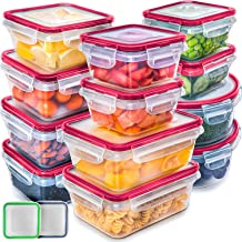 Fullstar (12 Pack) Food Storage Containers with Lids - Red Plastic Food Containers with Lids - Plastic Containers with Lids - Airtight Leak Proof Easy Snap Lock and BPA-Free Plastic Container Set