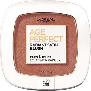L'Oreal Paris Age Perfect Radiant Satin Blush Formulated with Camellia Oil - Silky Smooth Powder Enhances Look of Cheeks - Available in 6 Luminous Shades, Amber, 0.31 oz.