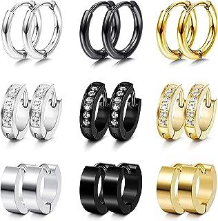 Udalyn 9 pares de pendientes de aro pequeños de acero inoxidable para hombres y mujeres, aretes de aro con incrustaciones ...