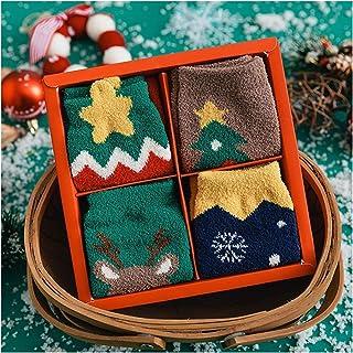Gift Box 4 Pairs/Box Christmas Woman Kids Socks Funny Cartoon Santa Claus Christmas Tree Cartoon Elk Animal Girl Gift Sock...