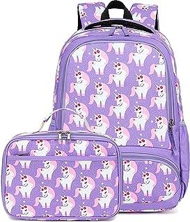 CAMTOP Backpack for Kids Girls School Backpack with Lunch Box Preschool Kindergarten BookBag Set (Y022/Unicorn Purple)