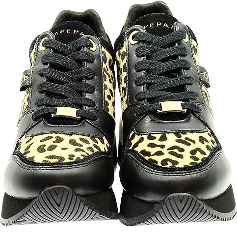 Apepazza paniers FonctionneHommest Mod. Hylda D20AP02 Fond Zeppa en Cuir Noir léopard pour Femme - - noir Leopardo, 36 EU EU