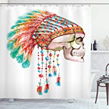 Ambesonne Native American Shower Curtain, Watercolor Graphic of a Skull with Tribal Ethnic Chief Feather Native Art, Fabric Bathroom Decor Set with Hooks, 84 Inches Extra Long, Multicolor