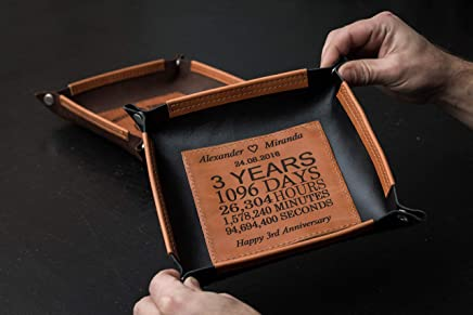 3rd anniversary personalized leather valet tray, Personalized Leather Valet Tray, Leather 3rd anniversary gifts, 3 year anniversary leather, third anniversary leather, custom leather valet tray