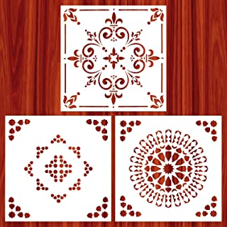 AK KYC Stencils Mandala Painting Stencil Stencils for Painting (12x12 inch Large Size) on Wood Wall Floor Tile Fabric Furniture Decor Mandala Dotting Tools Reusable, Style 2