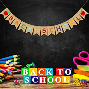 JOZON Back to School Burlap Banner First Day of School Bunting Banner Garland with Apple Sign Classroom Home Party Decorations School Classroom Blackboard Hanging Decor Sign Schoolyard Party Supplies