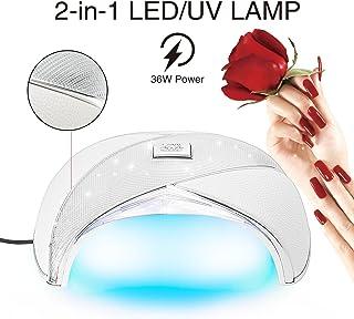 Cris Nails® Lampara 36W LED Secador de Uñas para Manicura Gel Esmalte Permanente Semipermanente (Blanco)