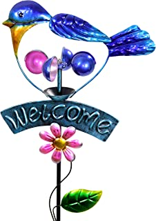 Exhart Blue Bird Welcome Sign Garden Stake Wind Spinner - Metal Blue Kinetic Spinners in Blue Metallic Coat - Kinetic Art Vertical Wind Spinners in Bird Metal Design, 11 x 36 Inches
