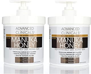 Advanced Clinicals Manuka Honey Cream for Extremely Dry, Aging Skin For Face, Neck, Hands, and Body. Spa Size 16oz. (Two - 16oz)