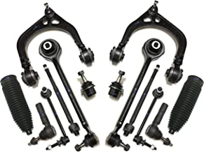 PartsW 14 Pc Suspension Kit for Chrysler 300 Dodge Charger Challenger Magnum Upper & Lower Control Arms, Ball Joints, Sway Bar End Links, Rack & Pinion Bellows, Inner & Outer Tie Rod Ends