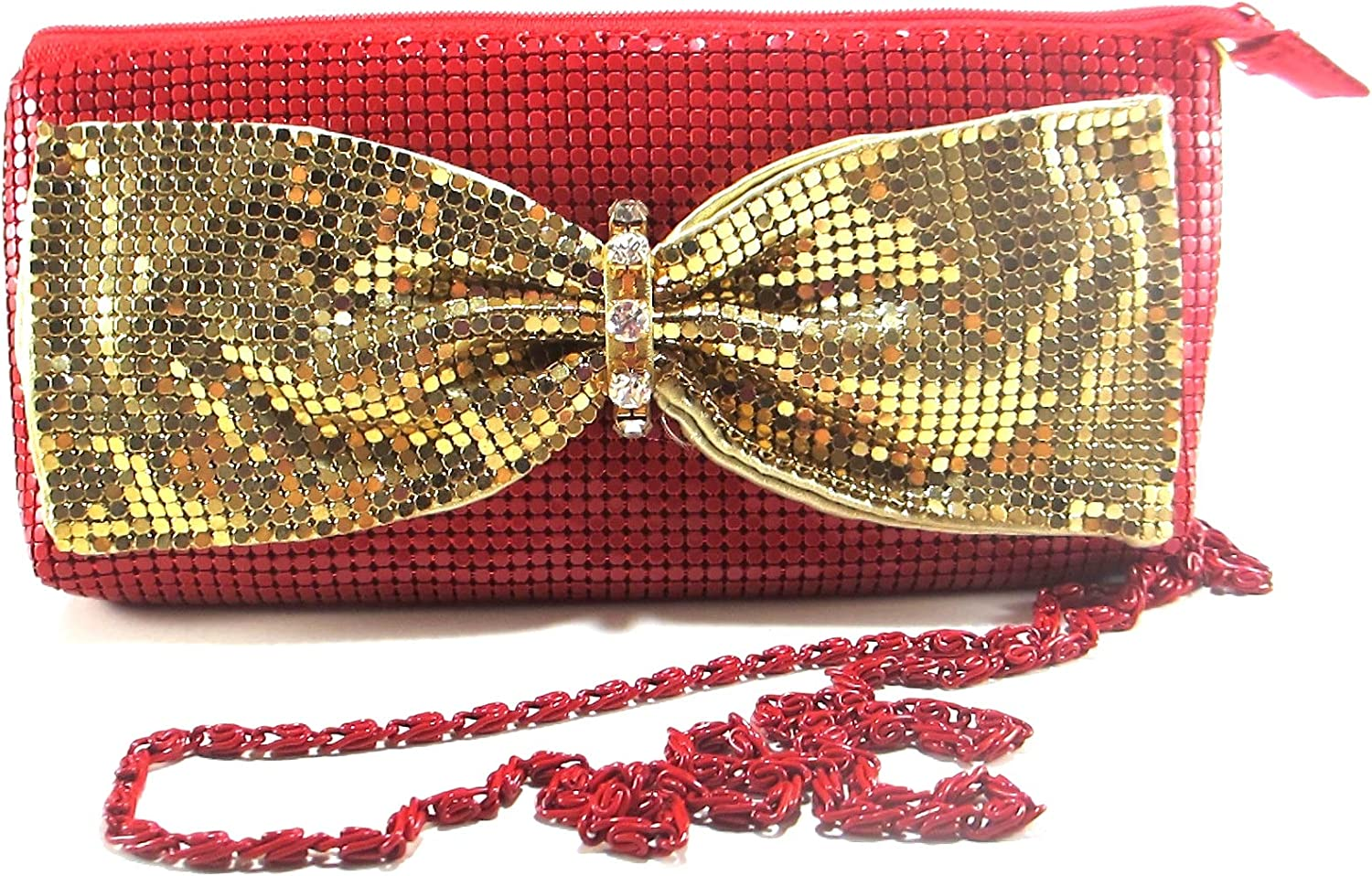 Womens Bowknot clutch metal mesh evening purse for Cocktail Party Prom Wedding Banquet