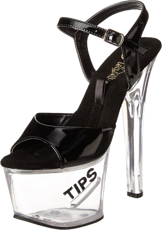 Pleaser Tipjar-709-5 - Sexy Plateau High Heels Sandaletten mit Tip-Slot 35-45, Gre EU-44   US-13   UK-10