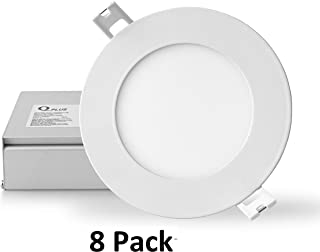 QPLUS 4 Inch LED Recessed Lighting, Ultra Thin Canless Downlight Kit with Junction Box, Dimmable, 10W (Equiv 75W), 750 lm, Energy Star + ETL, IC Rated, Damp Location (3000K Warm White, 8 Pack)