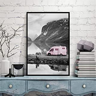 Canvas Pink Car Motor Home Decoration Maison Travel LandscapePosters And Prints Black And White Wall Art Pictures-40x60c...