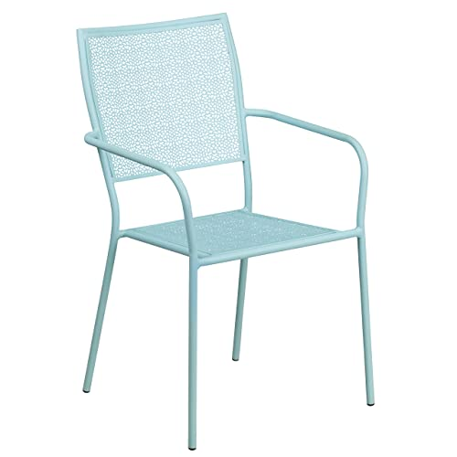 Delicieux Flash Furniture Sky Blue Indoor Outdoor Steel Patio Arm Chair With Square  Back