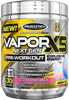 """MuscleTech Performance Series Vapor X5, Next Gen Pre-Workout Powder, Cotton Candy, 30 Servings"