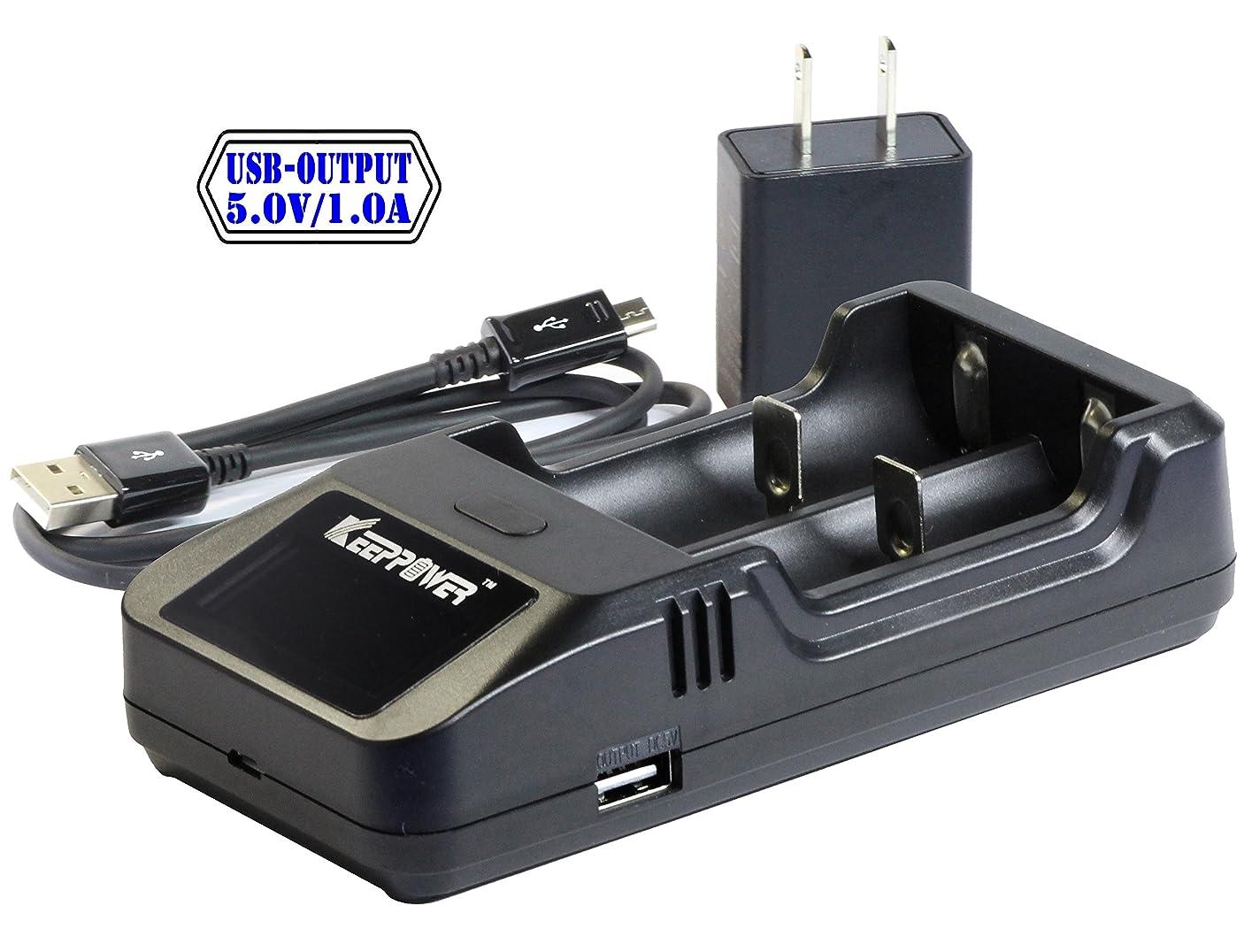 何故なのエチケット敵KEEPPOWER 純正 L2 Plus LCD リチウムイオンバッテリー 2A USB 高速充電器 (充電器単体)