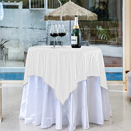 48 inch Round Silver Sequined Tablecloth can be Used for Parties, Weddings, banquets and Other Activities