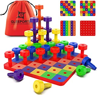 Patterned Stacking Peg Board Set Toy | Montessori Occupational Therapy Early Learning for Fine Motor Skills, Ideal for Tod...