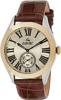 ساعة يد بحركة كوارتز وشاشة انالوج وسوار من الجلد للرجال من اوغست شتاينر، موديل AS8203SSBR